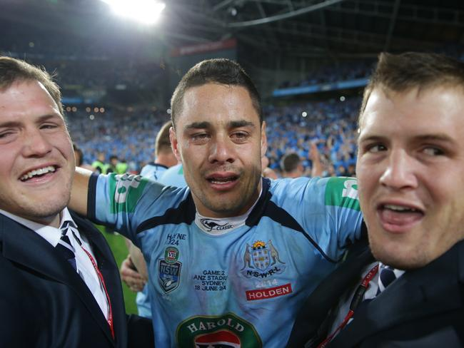 NSW's Jarryd Hayne celebrates with the Morris twins Brett and Josh after the game two State of Origin victory.