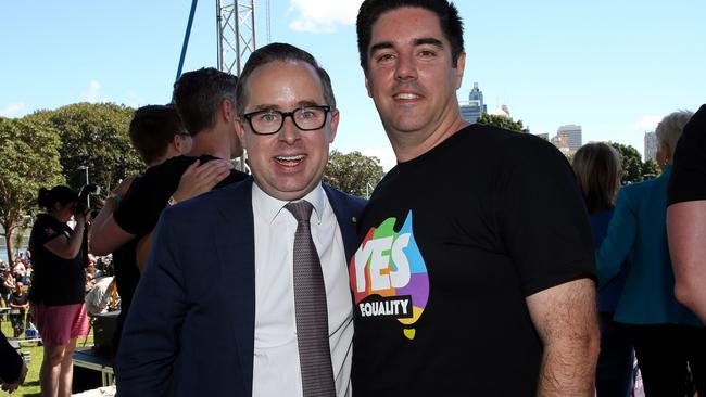 """Qanats CEO Alan Joyce (left) and partner Shane Lloyd at The Yes Campaign announcement in Sydney. Picture: Jane Dempster <ld pattern=""""."""" />+ <ld pattern=""""."""" />–-–"""