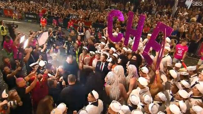 Superstar Cher made a surprise appearance in the crowd at the 40th Sydney Mardi Gras ahead of her scheduled performance later tonight.