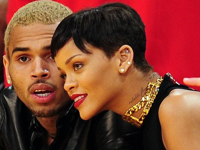 On and off again ... Chris Brown assaulted Rihanna in a limousine on the way on the Grammy Awards in 2009. Picture: AFP