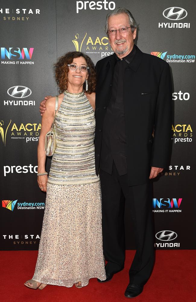 Michael Caton and Helen Esakoff arrive ahead of the 5th AACTA Awards Presented by Presto at The Star on December 9, 2015 in Sydney, Australia. Picture: AAP
