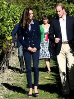 <p>In a semi-relaxed jeans and Zara blazer combo Catherine Duchess of Cambridge takes a walk through the vineyard during a visit to the Amisfield Winery on April 13, 2014 in Queenstown, New Zealand. Picture: Getty</p>