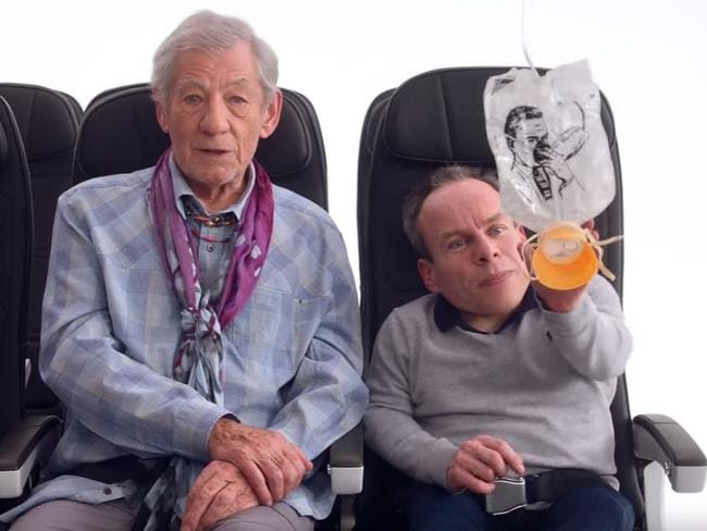 Wizards Gandalf the Grey and Professor Flitwick demonstrate the magic of oxygen masks.
