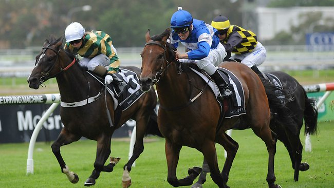 Frozen Rope (R) ridden to victory at Rosehill by Joshua Parr. Picture: Bullard Simon