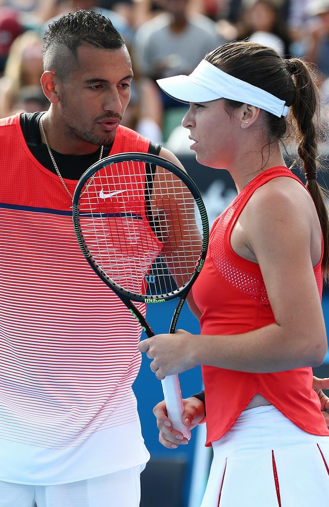 Nick Kyrgios and Ajla Tomljanovic in their mixed doubles match at the 2016 Australian Open. Picture: George Salpigtidis