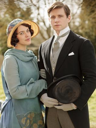 Not so haughty after all ... Jessica Brown Findlay as Lady Sybil with Allen leach as Branson in Downton Abbey.
