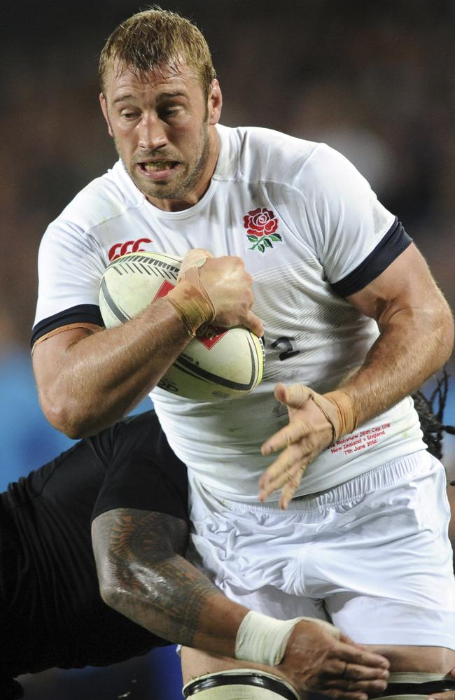 England's Chris Robshaw is tackled by New Zealand's Ma'a Nonu during the International Rugby Test at Eden Park in Auckland, New Zealand, Saturday, June 7, 2014. (AP Photo/SNPA, Ross Setford) NEW ZEALAND OUT