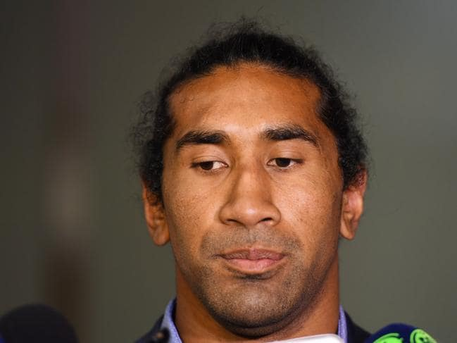 Canberra Raiders NRL player Iosia Soliola makes a statement to the media following the judiciary hearing at Rugby League Central in Sydney on Tuesday, July 25, 2017.Iosia Soliola has been given a five match suspension for a Dangerous Contact charge after Melbourne Storm's Billy Slater was knocked out during the round 20 NRL match at GIO Stadium in Canberra. (AAP Image/Paul Miller) NO ARCHIVING