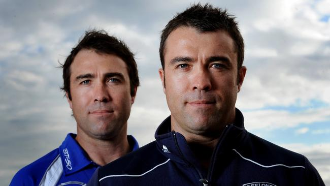 Geelong coach Chris Scott and Kangaroos coach Brad Scott.