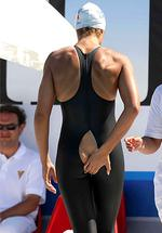 <p>Official support... Italian Olympic swimmer Flavia Zoccari was forced to sit out a championship race at the Mediterranean Games yesterday after her bathing costume burst open in a very unfortunate place. Picture: Snapper Media</p>
