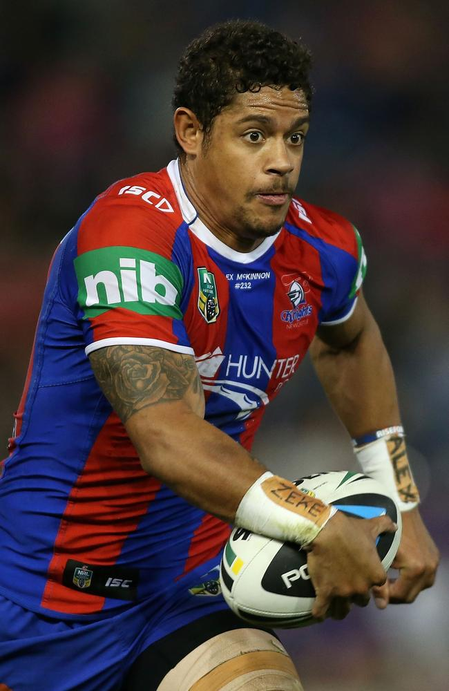 Dane Gagai of the Knights runs with the ball against the Warriors.