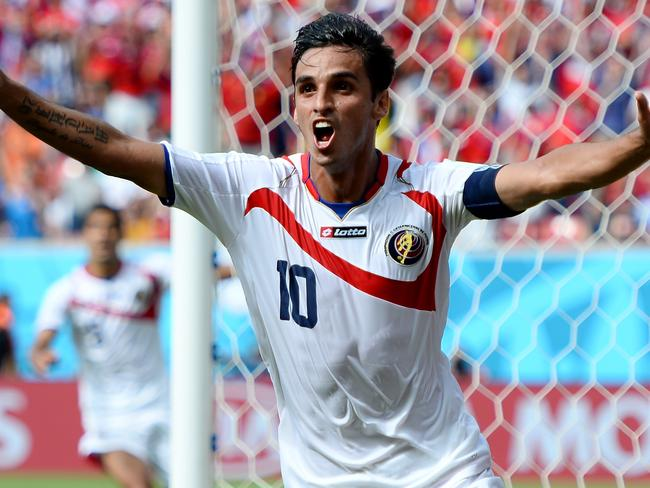 Bryan Ruiz of Costa Rica celebrates after scoring during the World Cup.