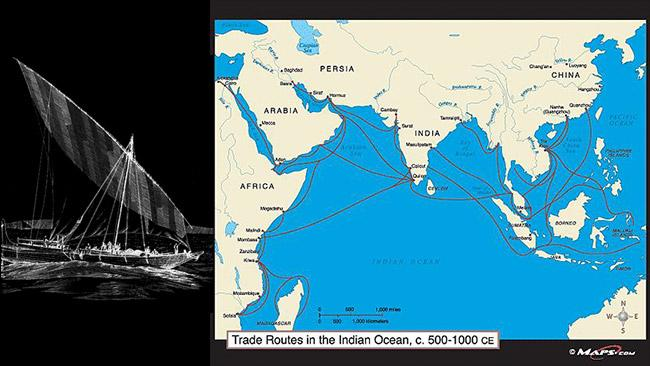 Medieval trade routes linking Africa to Indonesia.
