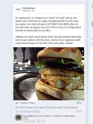 The Facebook post on Huxtaburger's page.