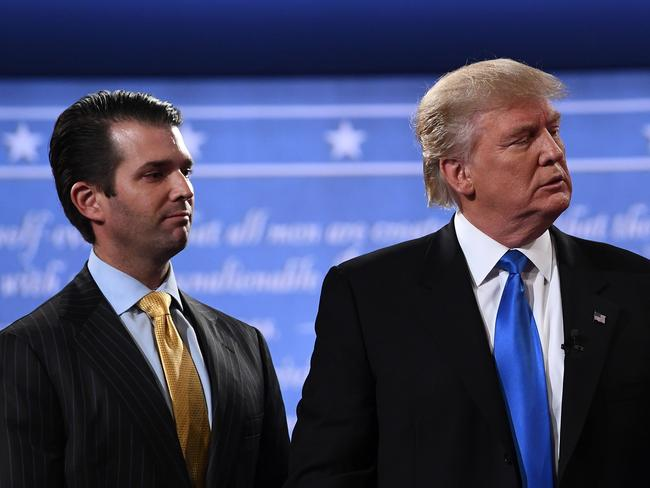 Donald Trump Jr stands with his father Donald Trump after the first presidential debate at Hofstra University in Hempstead, New York. Picture: AFP/Jewel Samad