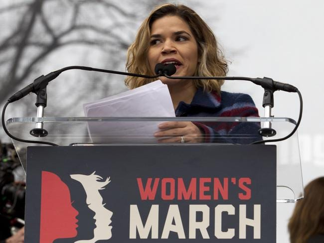 Actress America Ferrera speak to the crowd during the Women's March on Washington. Picture: AP /Jose Luis Magana