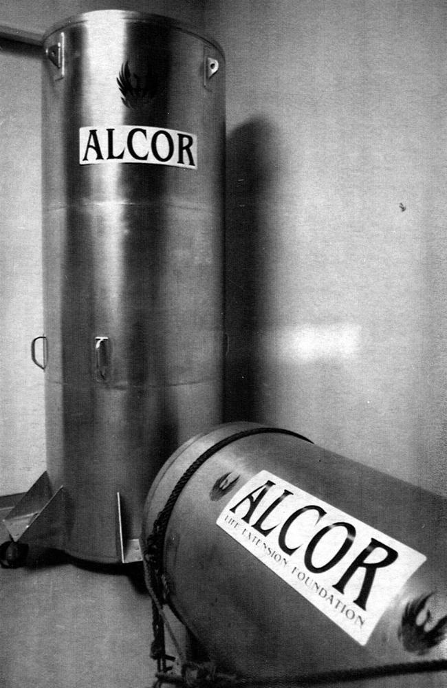 Cryonics freeze tubes used to hold bodies in frozen suspension, at the Alcor cryogenic laboratory. Picture: Philip Ramey.