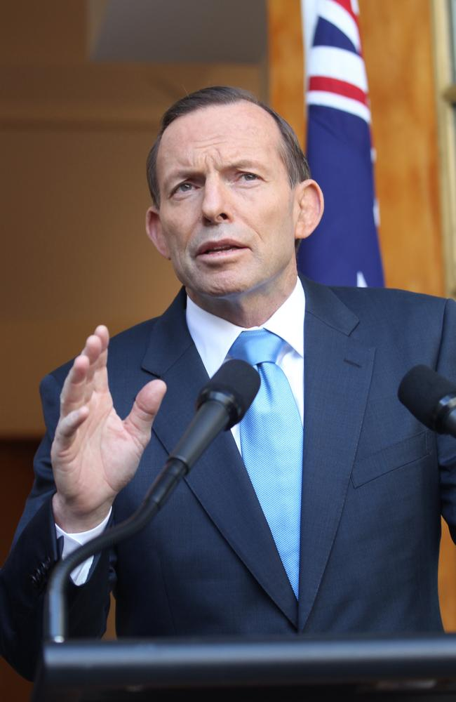 Prime Minister Tony Abbott during a press conference at a Parliament House in Canberra yesterday. Picture: Gary Ramage