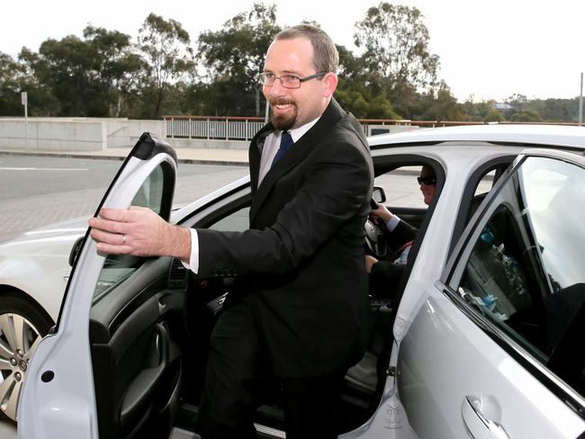 New job, new life: Australian Motoring Enthusiasts Party Senator Ricky Muir arrives at Parliament House.