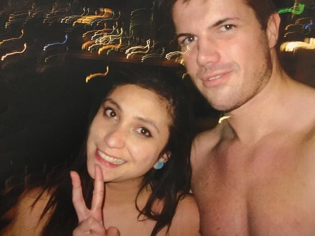 Warriena Wright and Gable Tostee took selfies together before their date turned violent. Picture: AAP Image/Supplied by Queensland Supreme Court