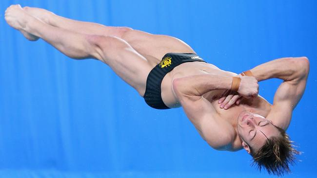 Matthew Mitcham on his way to silver in the 1m springboard.