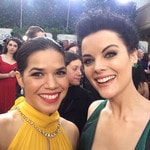 "America Ferrera ... ""Ran into this bad-ass beauty on the carpet. @jaimiealexander my #NBCsister"" Picture: Instagram"