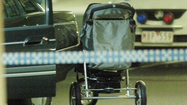 Baby Montana's empty pram at the scene at Brimbank Central Shopping Centre where Anita Cianco was bashed and the three-week-old baby abducted.