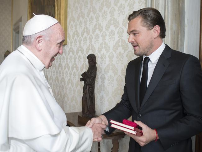 Private audience ... Pope Francis welcomed actor Leonardo DiCaprio to the Vatican. Picture: AFP/Osservatore Romano