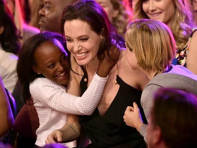 Close bond ... Angelina Jolie with her daughters Zahara (left) and Shiloh at the Kids Choice Awards in 2015. Picture :Kevin Winter/Getty Images