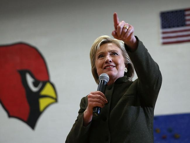 Democratic presidential candidate former Secretary of State Hillary Clinton speaks during a 'get out the caucus' event at Berg Middle School in Iowa. Picture: Justin Sullivan/Getty/AFP