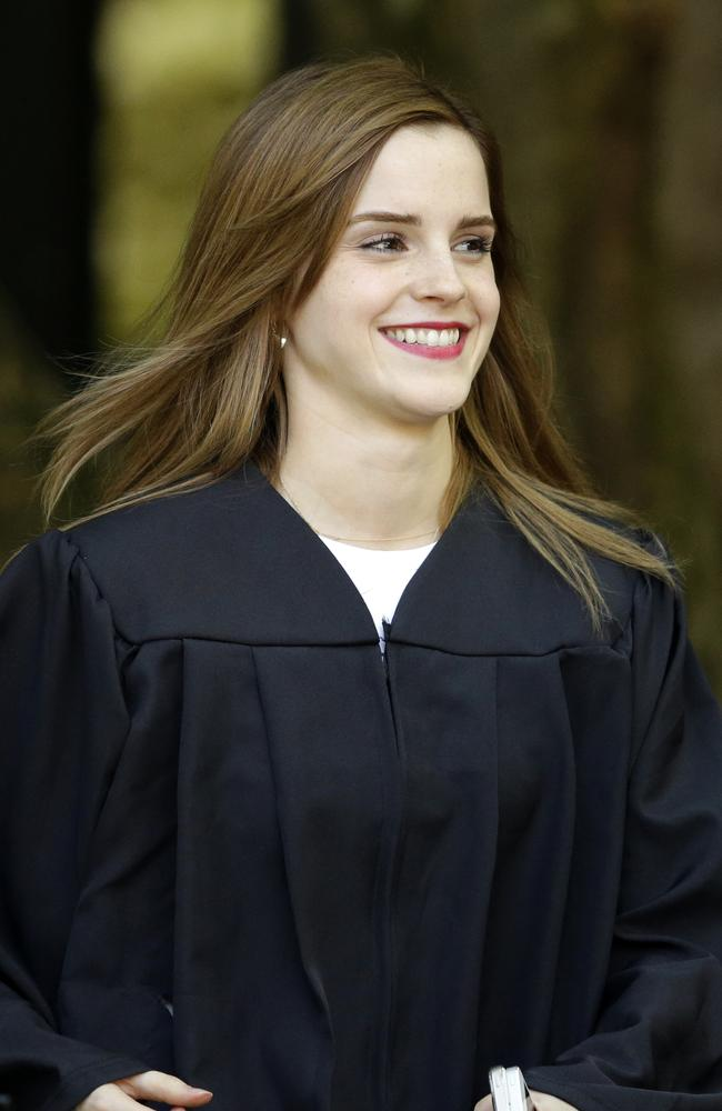 All grown up ... Emma Watson walks between buildings following commencement services on campus. Picture: Steven Senne