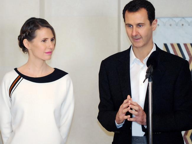 Syrian President Bashar al-Assad (right) with his wife, Asma. Picture: AFP/Syrian Arab News Agency