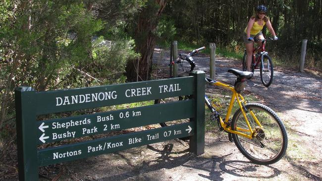 Dandenong Creek Trail is popular with cyclists.