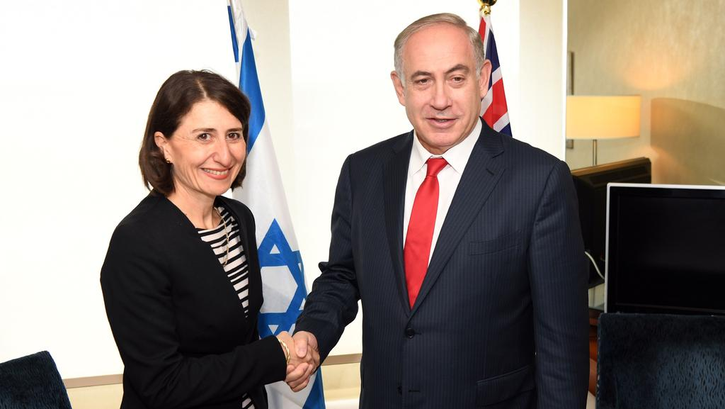Premier Gladys Berejiklian shakes hands with Israel's Prime Minister Benjamin Netanyahu in Sydney on Friday. Picture: AFP