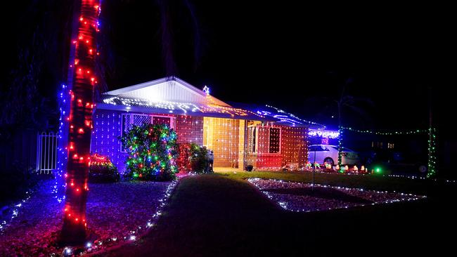 Hotham street off Lee Point drive is alive with lights. Picture: Justin Kennedy