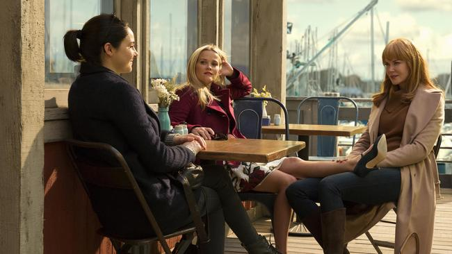 Shailene Woodley, Reese Witherspoon and Nicole Kidman in a scene from Big Little Lies. Picture: Foxtel