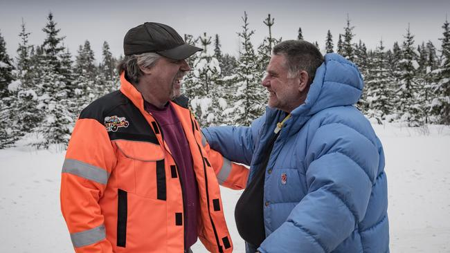 Tow truck driver Tommy Bjurstrom (left) reunited with Frank Werner-Mohn 29 years after the fateful crash that led to the invention of electronic stability control. Picture: Daniel Maurer.