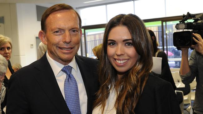 Prime Minister Tony Abbott and Rosie Gallen at the opening of the Roth Winkler Campus for Listening and Spoken Language at The Shepherd Centre, Newtown. Picture: Craig Wilson