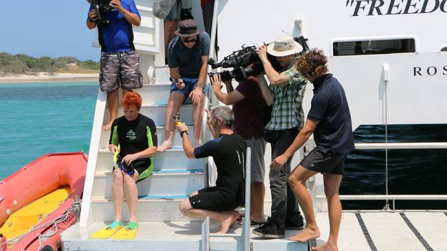 Pauline Hanson as she prepares to go snorkelling on the Great Barrier Reef.