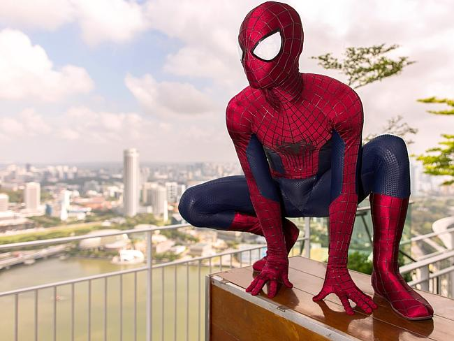 Spider-Man is back ... he explores Singapore during his time in The Amazing Spider-Man 2. Picture: Christopher Polk/Getty Images for Sony