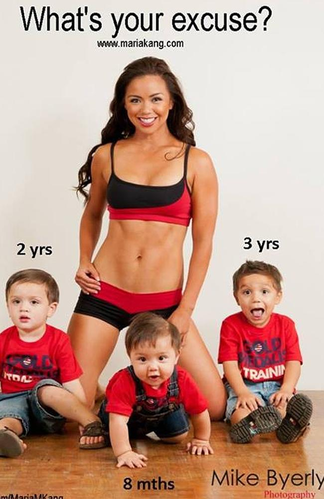 """Judgmental"", ""fat-shamer"" and ""bully"" ... LA-based mother-of-three Marie King showed off her super-toned abs, surrounded by her three little boys. What's your excuse? she asked."