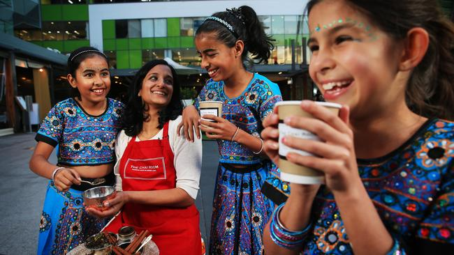 Get ready for the festivities in the Piazza, Top Ryde City, at this weekend's Chai Laneway Festvial are Ashani Gupta, 10, Fatema Khanbhai from The Chai Room, Yasmin Gupta, 11, and Bezi Saunders, 10, from Mango Dance.