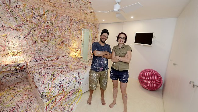 The Block contestants Matt and Kim show off their controversial design. Picture: Martin Philbey.