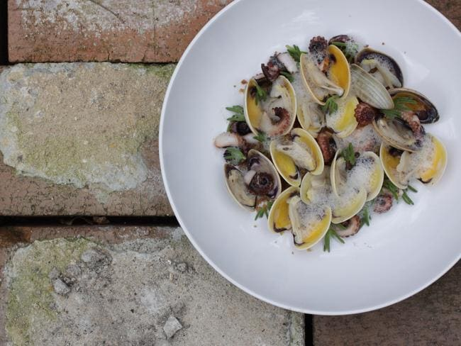 Pipis with grilled octopus at Moxhe Restaurant. Picture: Supplied