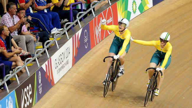 Anna Meares offers congratulations to Stephanie Morton after her sprint win.