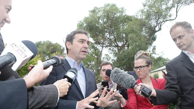 Steven Marshall spoke to reporters in Norwood after Frome MP Geoff Brock appeared alongside Premier Jay Weatherill to announce he would back Labor to form a minority government. Photo: Calum Robertson
