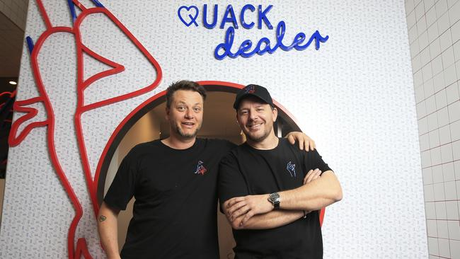 Phil Davenport and MKR host Manu Feildel opens a permanent restaurant, Duck In, Duck Out, in World Square after the success of their pop up. Picture: Dylan Robinson