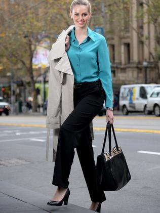 Corporate Look: Meredith Trench $189, Blouse $109 and Pant $89, Noni B Stella Tote $79.95, Isabella Anselmi court shoe by Merchant $149.90, Watch and earrings model's own. Picture: Kylie Else