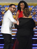 Ann Dowd accepts Outstanding Supporting Actress in a Drama Series for 'The Handmaid's Tale' from Jeremy Piven and Sonequa Martin-Green onstage during the 69th Annual Primetime Emmy Awards at Microsoft Theater on September 17, 2017 in Los Angeles, California. Picture: Getty