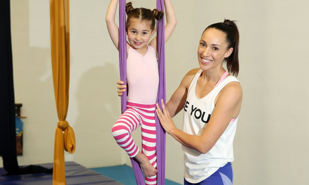 Mum-of-two, Sara Eastwood, from Sydney's Northern Beaches has launched Australia's first kids' experience gift marketplace - like Red Balloon but with hundreds of experiences dedicated solely to kids from newborn to age 18. Sara is pictured with her 4 year old daugther Mila at Intergral aerial silk in Brookvale.